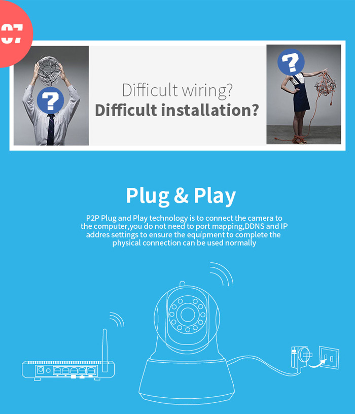 ESCAM QF002 IP Camera WIFI 720P P2P NightVision Support Android IOS for Home Company