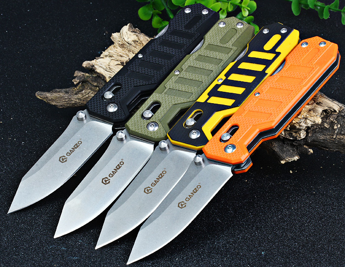 Ganzo G735-BK Multifunctional Folding Knife with Axis Lock