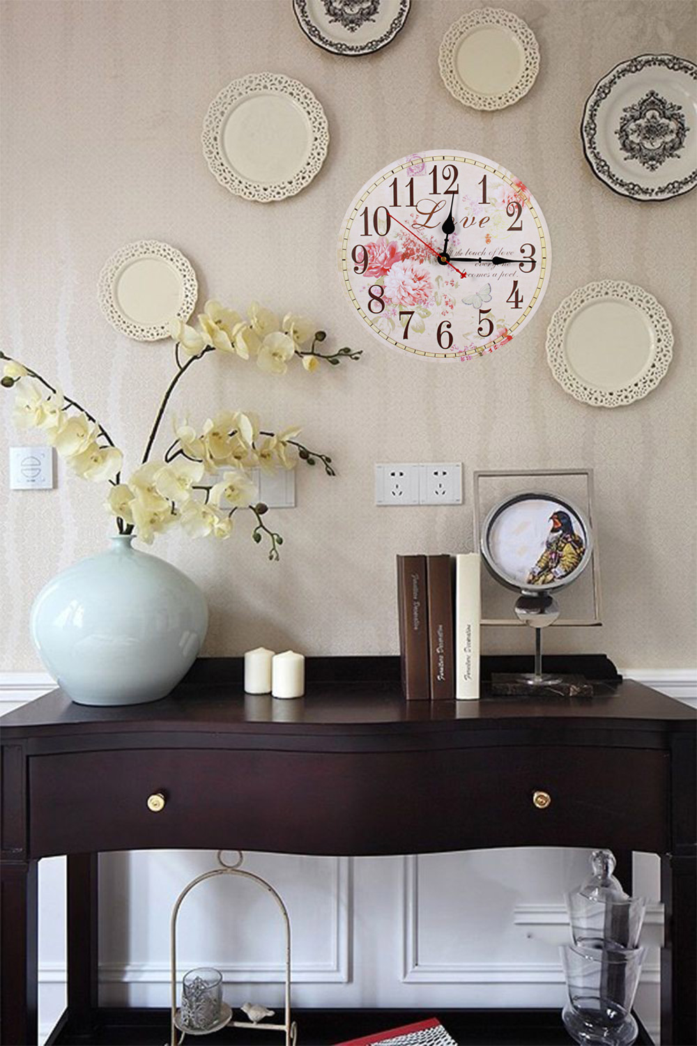 Retro Vintage Wooden Decorative Peony Round Wall Clock
