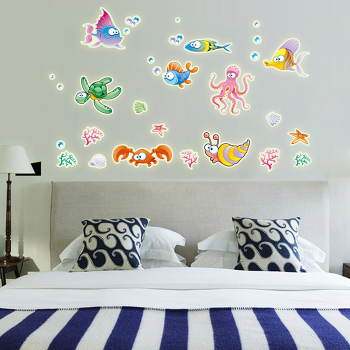 Colorful Underwater World Style Fluorescent Wall Stickers Funny Luminous Wallpaper for Home Decorations
