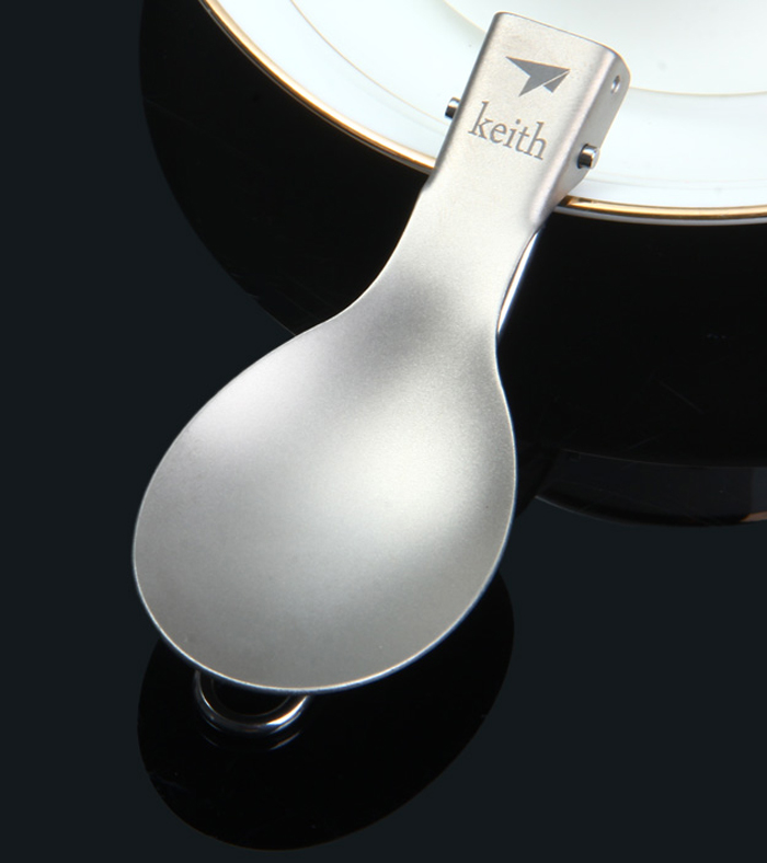 Keith KT302 Titanium Folding Table Spoon with Sand Blasting Process