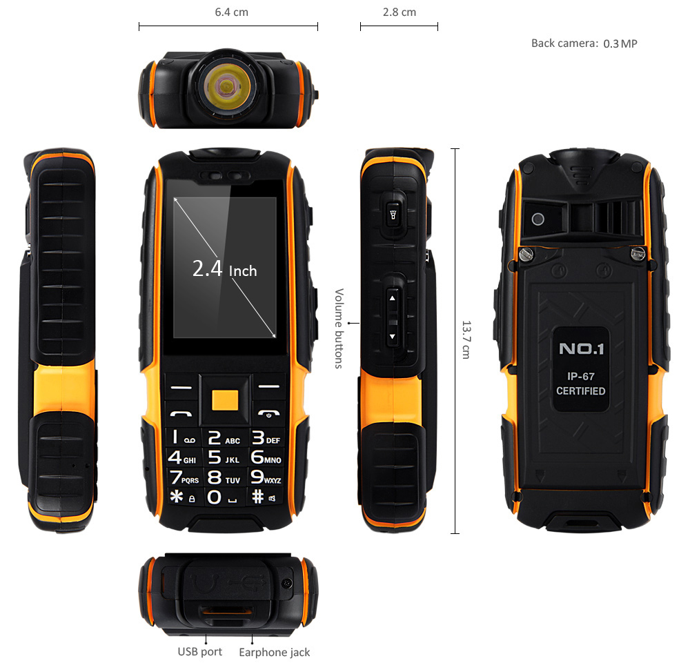 NO.1 A9 Quad Band Unlocked Phone Dual SIM IP67 Waterproof Dustproof Shockproof FM with Flashlight Camera