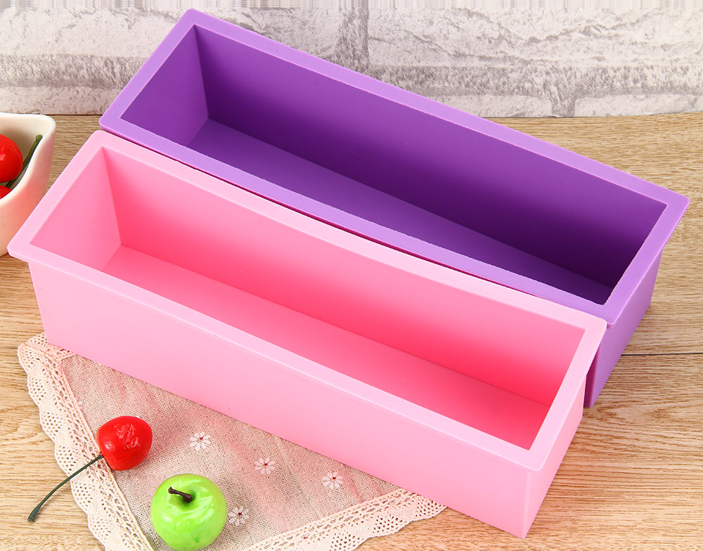 Handmade Soap Silicone Rectangle Mould Pastry Bread Bakeware 1.2L