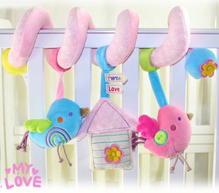 Baby Crib Rattle Hanging Bird Style Musical Toys Pram Decoration