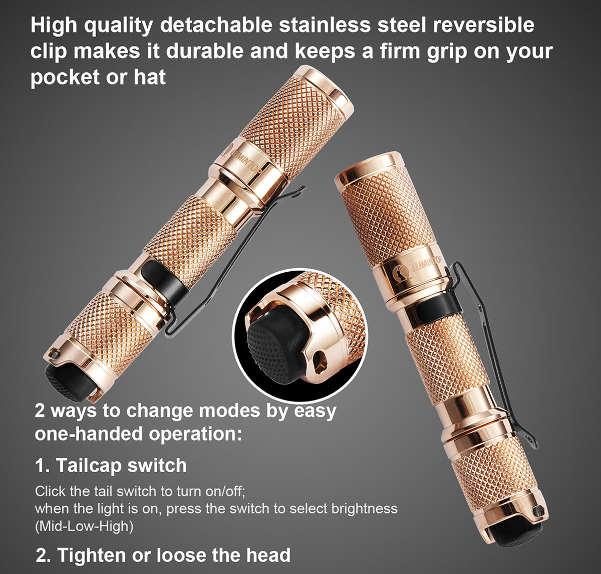 Lumintop Copper Tool AAA Cree XP - G2 R5 110Lm LED Flashlight