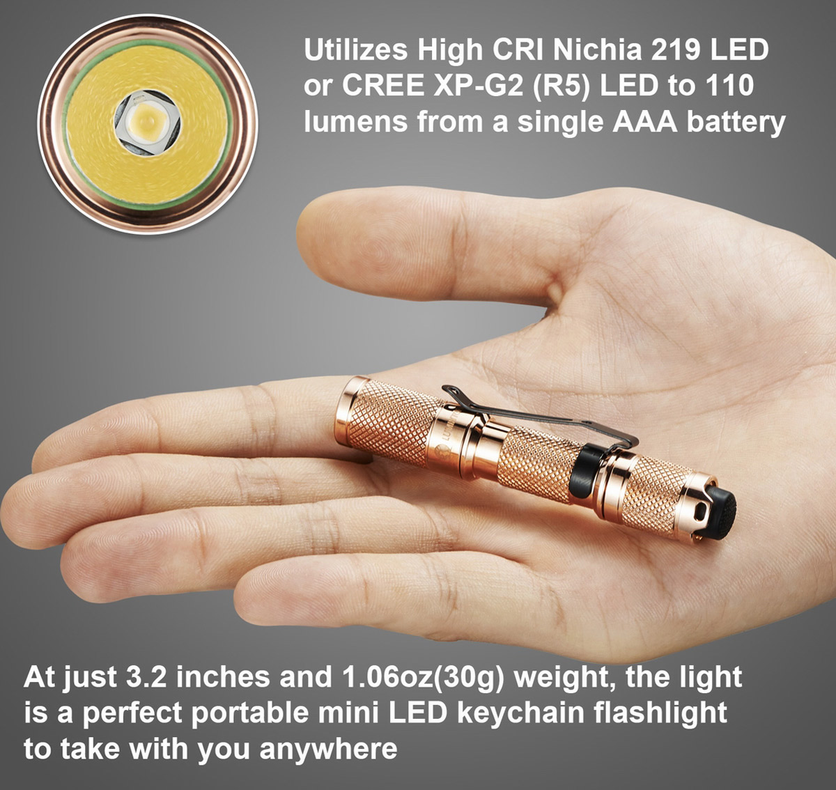 Lumintop Copper Tool AAA Nichia 219 80Lm LED Flashlight for Outdoor
