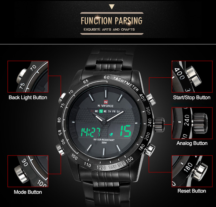 Naviforce 3681 Multifunctional Dual Movt LED Sports Male Watch