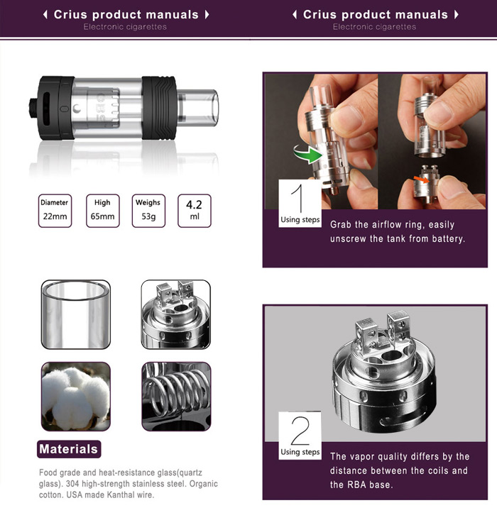 Original OBS Crius RTA Rebuildable Tank Atomizer with 4.2ml Capacity Side Fill Juice Flow Control 510 Thread