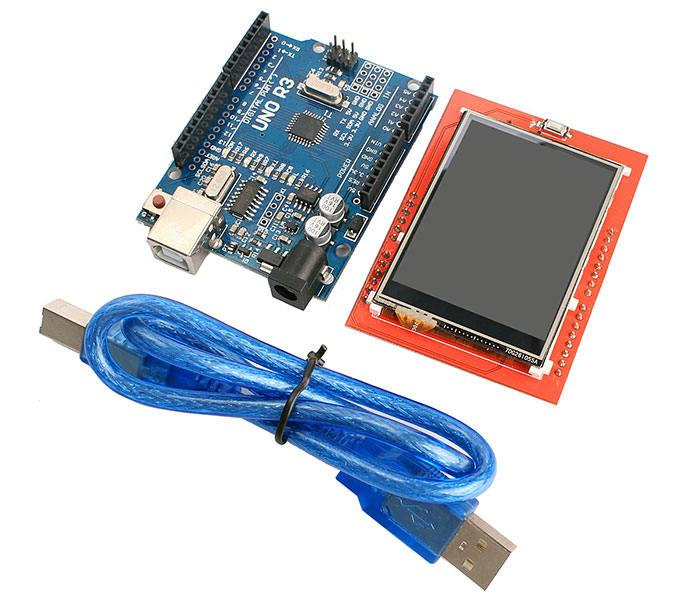 UNO R3 Improved Version Atmegann 328P Board with 2.4inch TFT LCD Touch Screen Module for Arduino