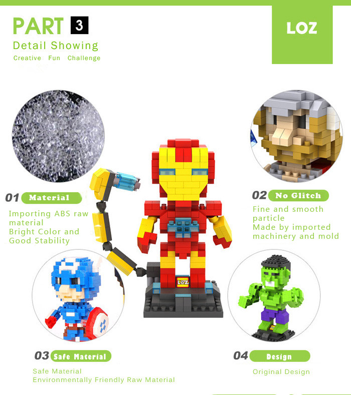 LOZ 290Pcs L - 9451 The Avengers Hulk Building Block Educational Toy Christmas Present