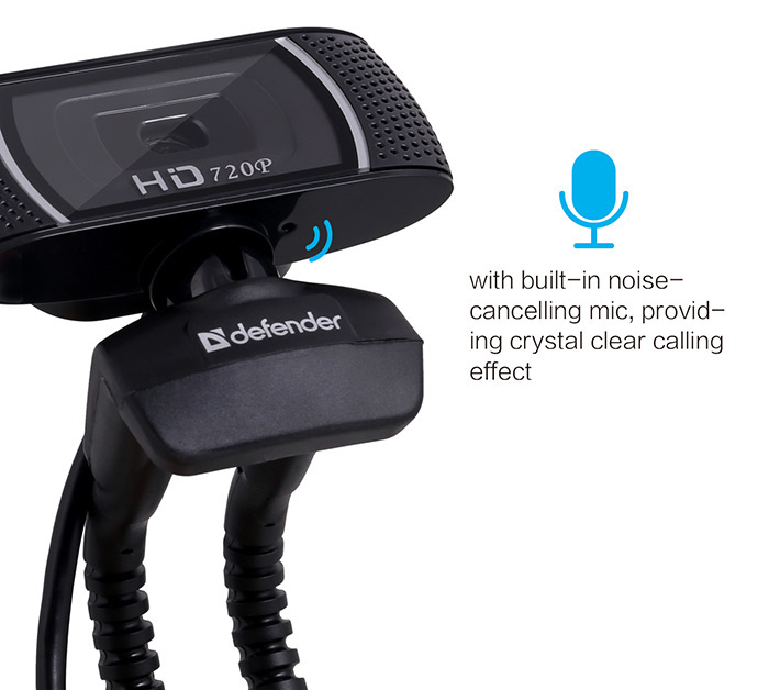 Defender 360 Degree Rotatable 2MP HD Webcam Clip-on Web PC Camera 1280 x 720 Resolution for PC Laptop