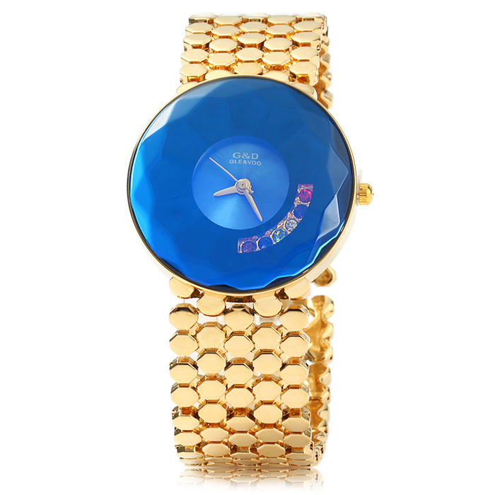 GND Diamond-shaped Mirror Ladies Colorful Rhinestone Quartz Watch