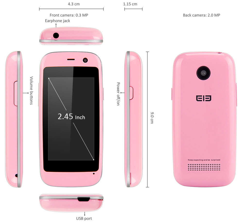 Elephone Q 2.45 inch 3G Smartphone Android 4.4 MTK6572 Dual Core 1.2GHz Bluetooth 4.0 Dual Camera GPS