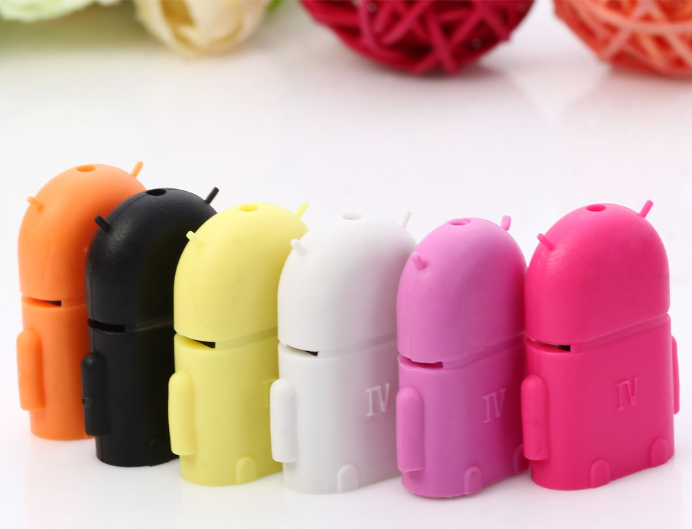 Android Robot Style Micro USB Male to Female OTG Card Reader