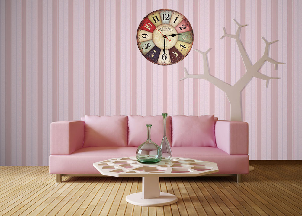 European Style Round Colorful Retro Vintage Rustic Wooden Home Wall Clock