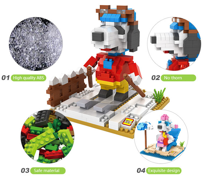LOZ No. 9525 Snoopy Skiing Building Block for Teenager / Adult IQ Training