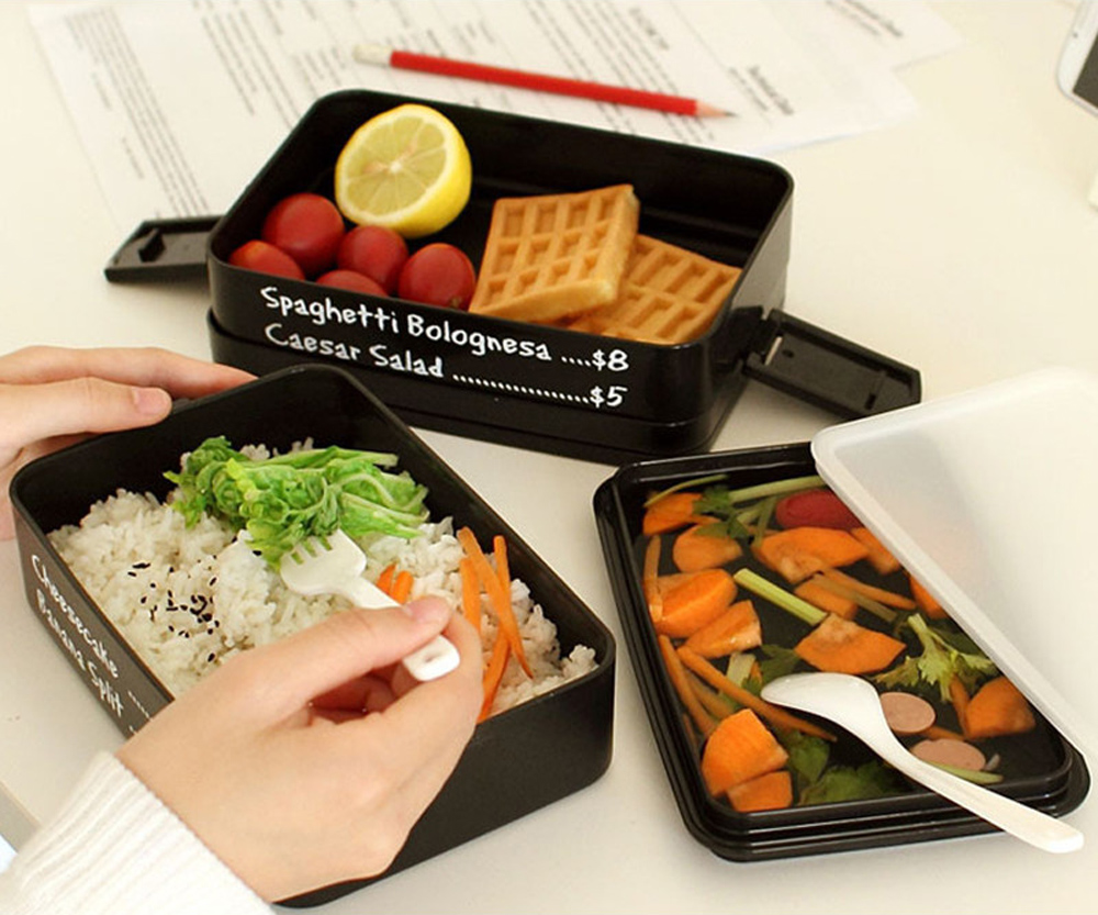 Protable Three-layer Rectangle Lunch Box Eco-friendly Bento Container