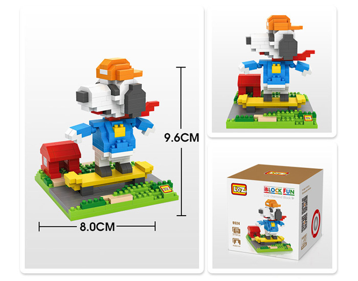 LOZ No. 9524 Snoopy Skateboarding Building Block for Teenager / Adult IQ Training