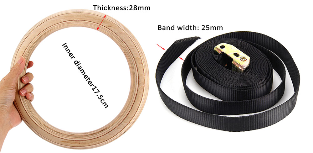 Adjustable Birch Rings Gym Chinning Upside Down Workout Exercise