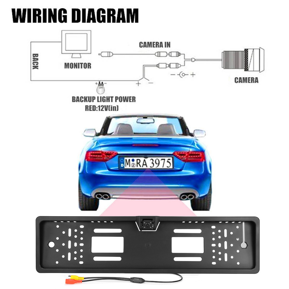 European Car License Plate Frame Size Rear View Rearview Camera Universal CCD IR Night Vision