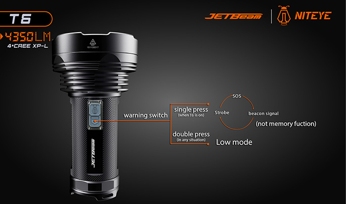 JETBeam T6 4 x CREE XP - L 4350Lm Outdoor LED Flashlight Torch