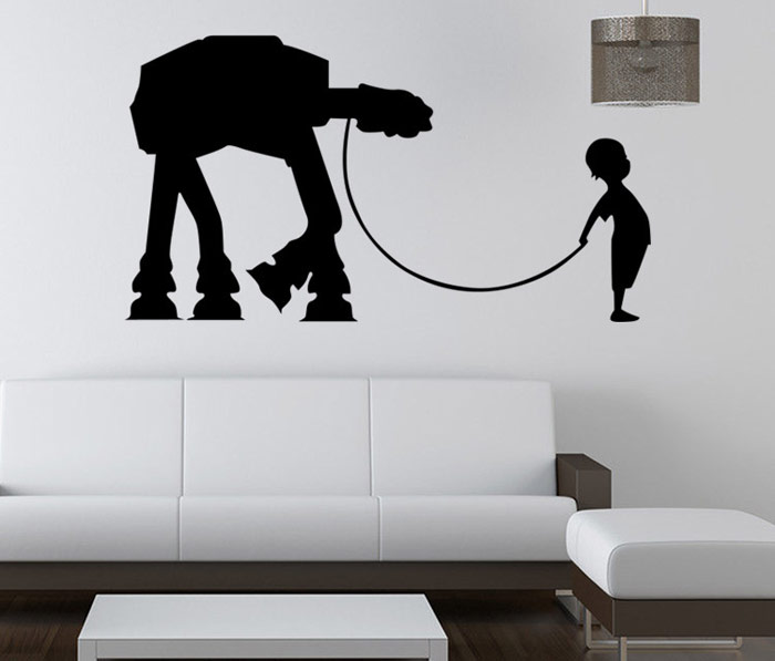w-17 Boy AT-AT Walker Style Removable Wall Sticker Water Resistant Home Art Decals