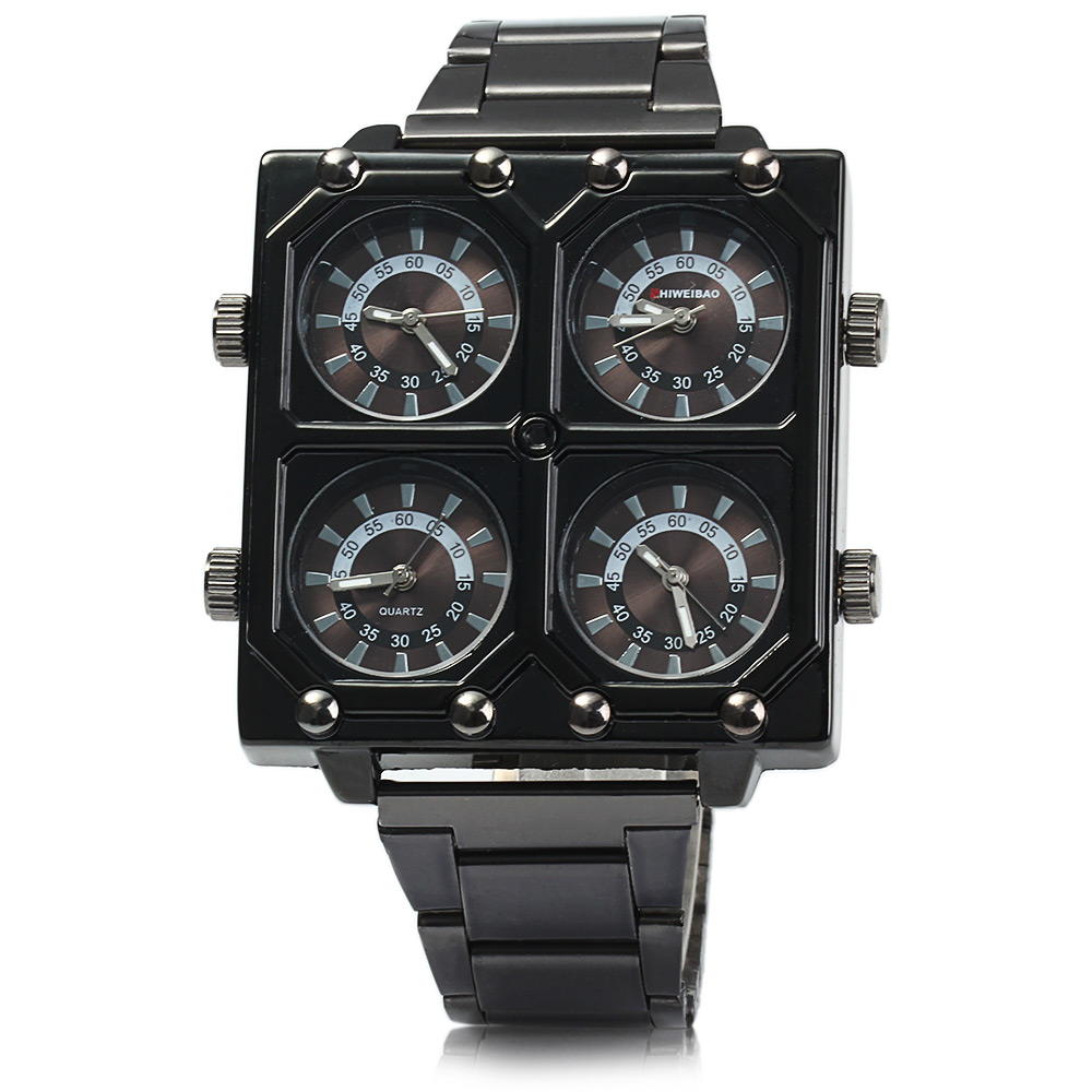 Shiweibao K2601 Four Movt Male Quartz Watch Stainless Steel Band