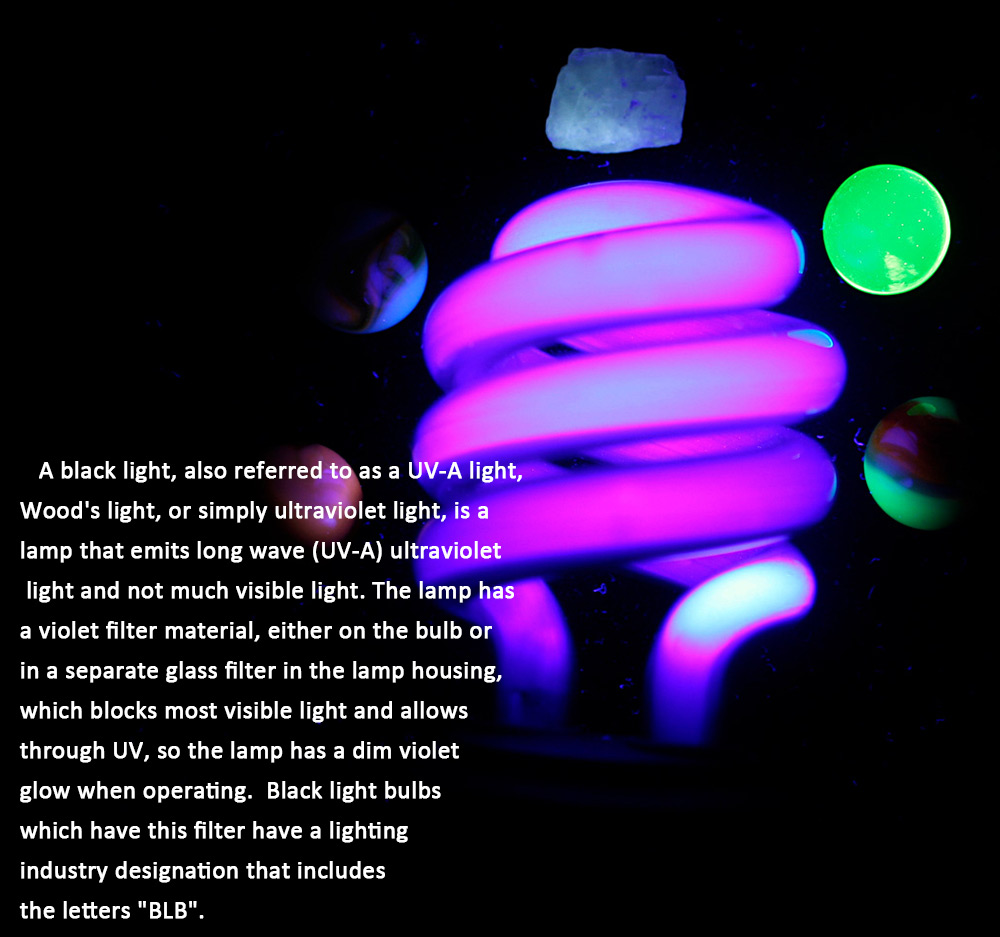 E27 40W Spiral Energy Saving Black Light Lamp with Money Detector Traps Insects StageLighting Function