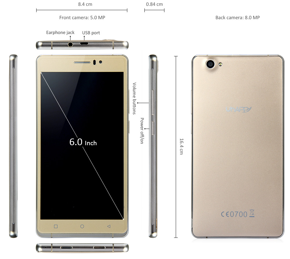 6.0 inch 2.5D Screen UHAPPY UP580 3G Phablet Android 5.1 MTK6580 Quad Core 1.3GHz GPS 8GB ROM Hotknot 8.0MP Main Camera