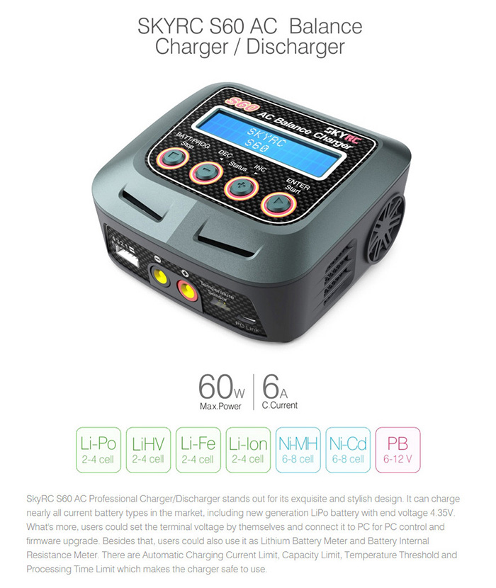 SKYRC S60 60W AC Balance Charger Discharger for RC Model Battery