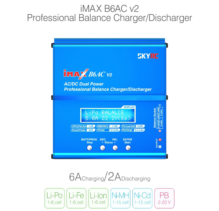 SKYRC iMAX B6AC V2 6A Balance Charger LCD Display Discharger for RC Model Battery