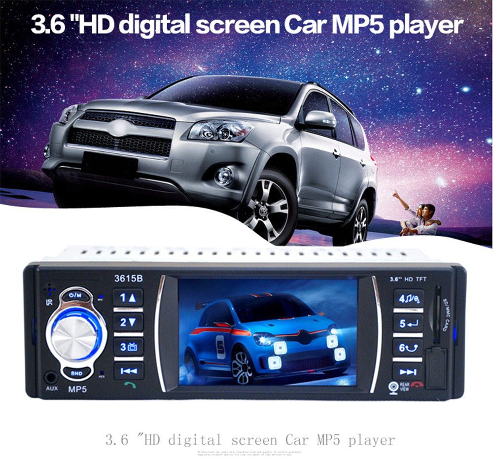 3615B 3.6 inch TFT Screen Rear View Camera Car Audio Stereo Bluetooth V2.0 12V Auto Video MP5 AUX FM USB SD MMC Remote Control