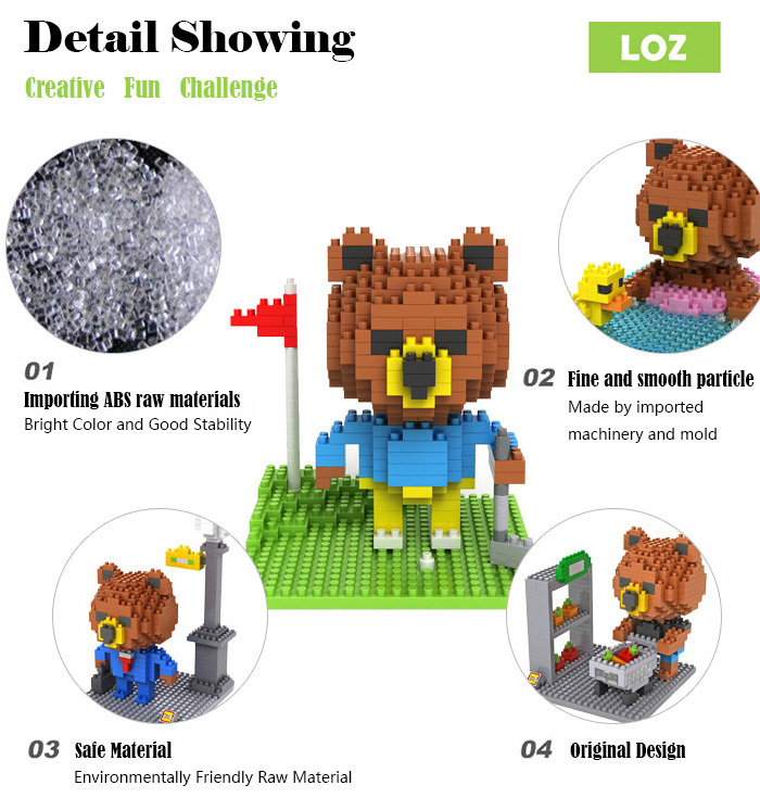 LOZ 310Pcs 9427 Brown Bear Golf Building Block Educational Toy Christmas Present