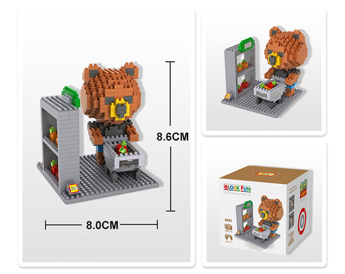 LOZ 360Pcs 9432 Shopping Brown Bear Building Block Educational Toy Christmas Present