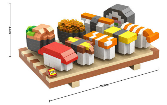 LOZ 1360Pcs 9392 Delicious Food Sushi Set Meal Building Block Educational Toy Christmas Present