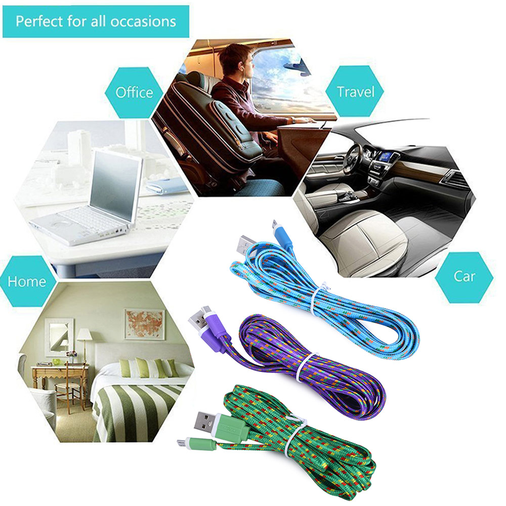 3M Micro USB Flat Braided Synchronization Charger Cable Cord Adapter for Android Smart Phones