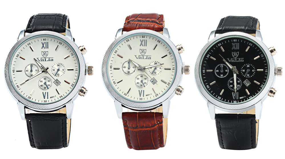 Valia 8601-1 Date Function Quartz Watch Leather Band for Men