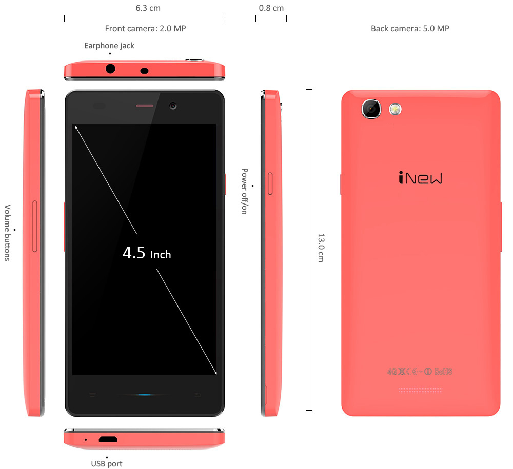 INEW U3 4.5 inch Android 5.1 4G Smartphone with MTK6735 64bit Quad Core 1.0GHz 1GB RAM 8GB ROM Dual Cameras