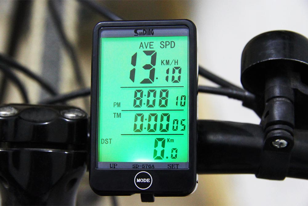 SD - 576A Waterproof Auto Light Mode Touch Wired Bicycle Computer Speedometer with LCD Backlight