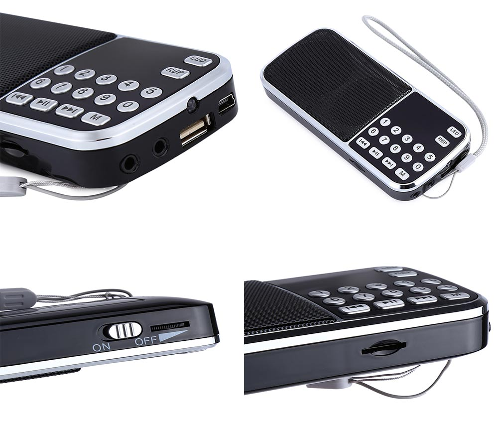 iCHENLE L - 088 Portable FM Radio Speaker Music Player with TF Card USB AUX Input
