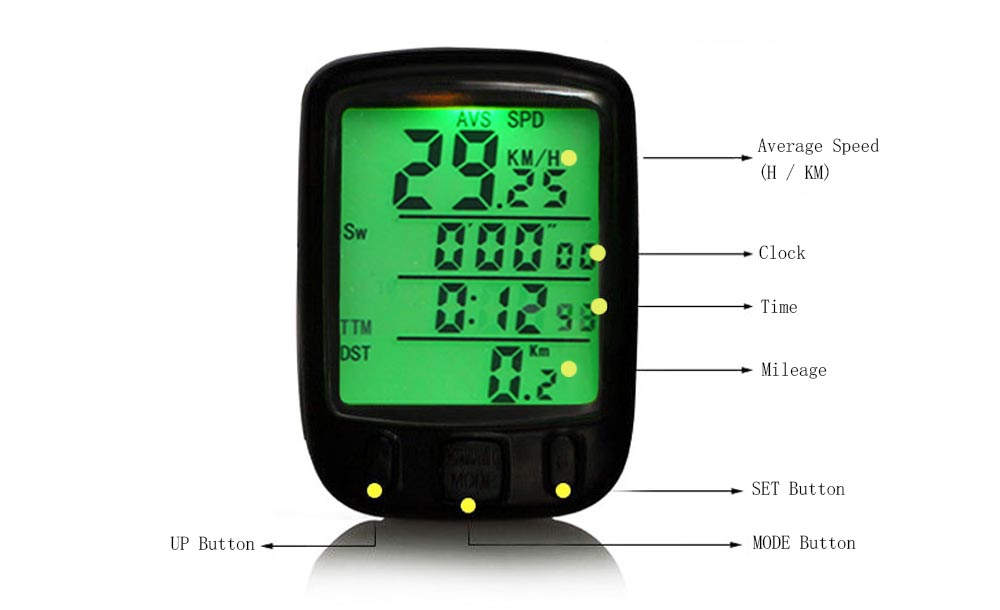 SD-563 Wireless Multi Function Waterproof Bicycle Computer Odometer with LCD Backlight