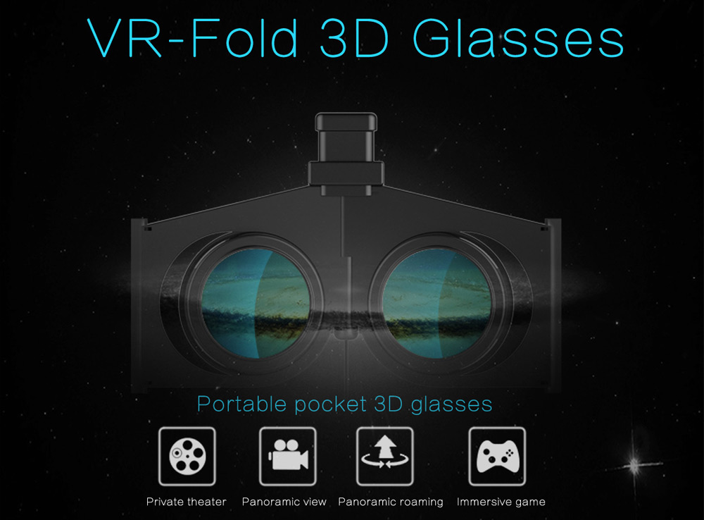 VR Fold V1 Foldable 3D Virtual Reality Glasses Portable Pocket Video Game Private Theater for Smartphone