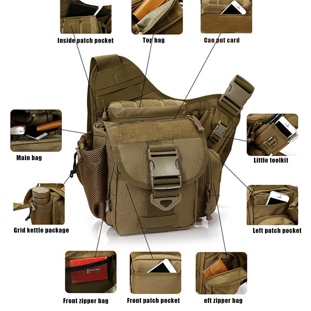 Military Outdoor Tactical Saddle Bag Camping Travel Hiking Trekking Shoulder Pack