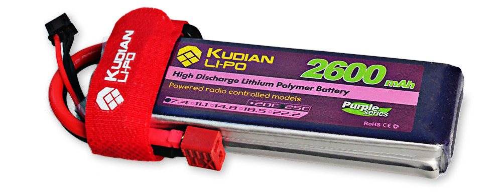 Kudian T Plug 2S 7.4V 2600mAh 25C Battery Accessory for Fixed-wing Airplane Vehicle Model