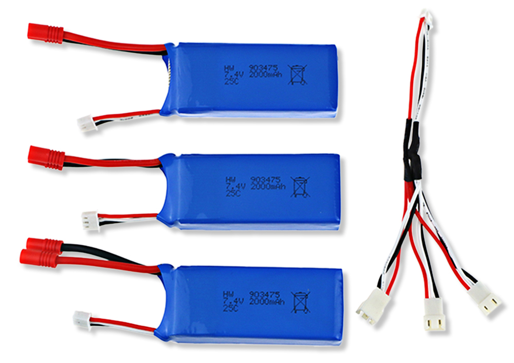 Battery Charging Set 3 x 7.4V 2000mAh LiPo + Charging Cable for SYMA X8C X8W Quadcopter