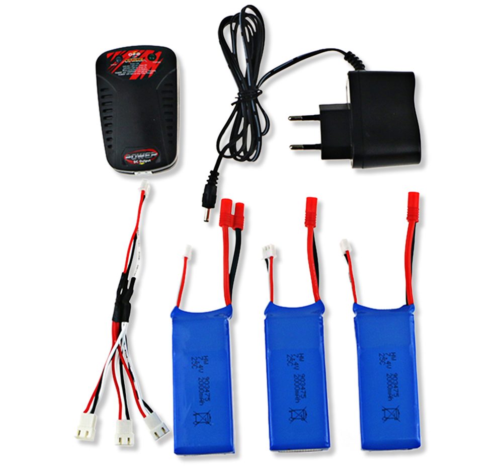 Battery Charging Set 3Pcs 7.4V 2000mAh Lipo + Balance Charger with Power Adapter / Cable for Syma X8C X8W X8G X8HC X8HW X8HG Quadcopter