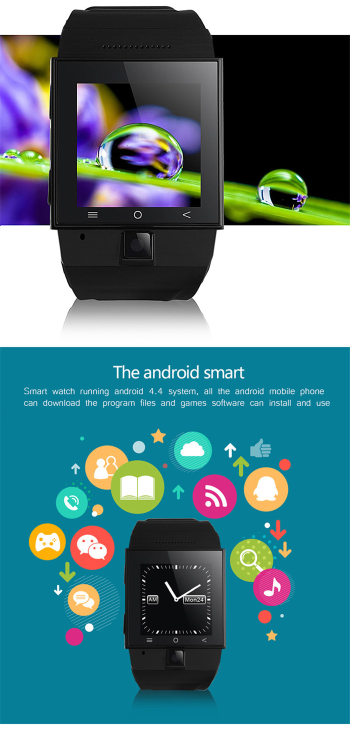 ZGPAX S55 Android 4.4 3G Smart Watch Phone with MTK6572 Dual Quad 1.2GHz 1.54 inch Touch Screen 4GB ROM Bluetooth 4.0