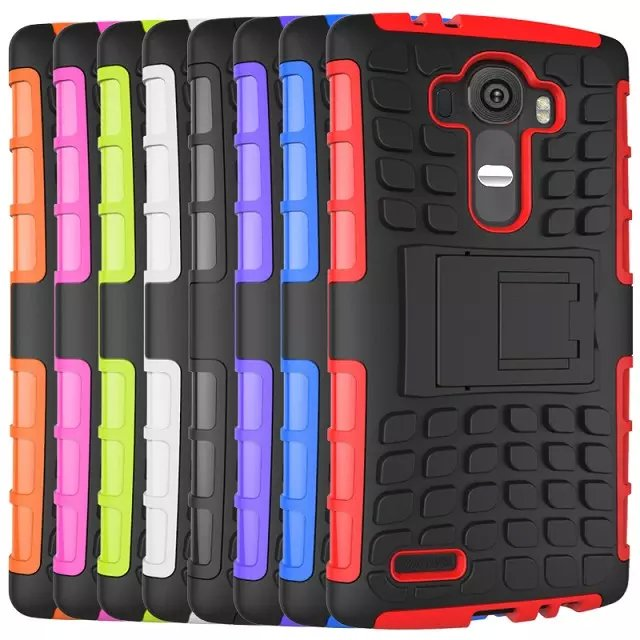 TPU and PC Material Support Protective Back Cover Case of Tire Pattern Design for LG G4