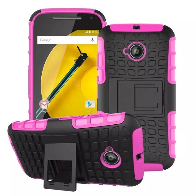 TPU and PC Material Support Protective Back Cover Case of Tire Pattern Design for Motorola Moto E2