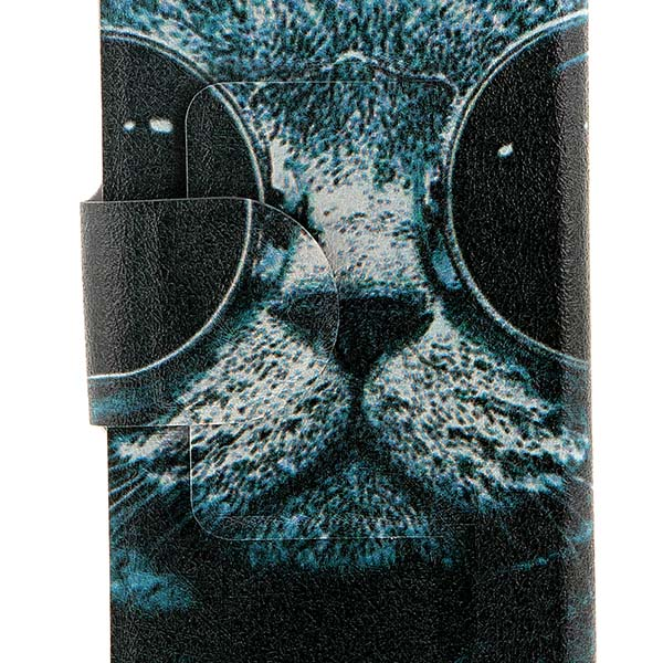 Kinston Sunglass Cat Pattern PU Leather Flip Cover Case with Stand Card Holder for Huawei Ascend P7